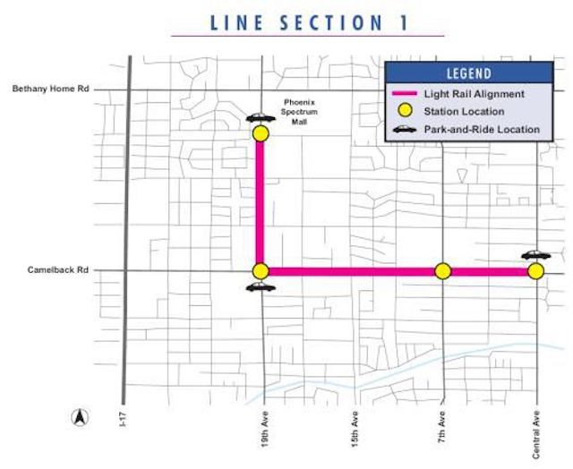 Greater Phoenix Adds Light Rail to Public Transportation Phoenix Light Rail Line Map - Section 1