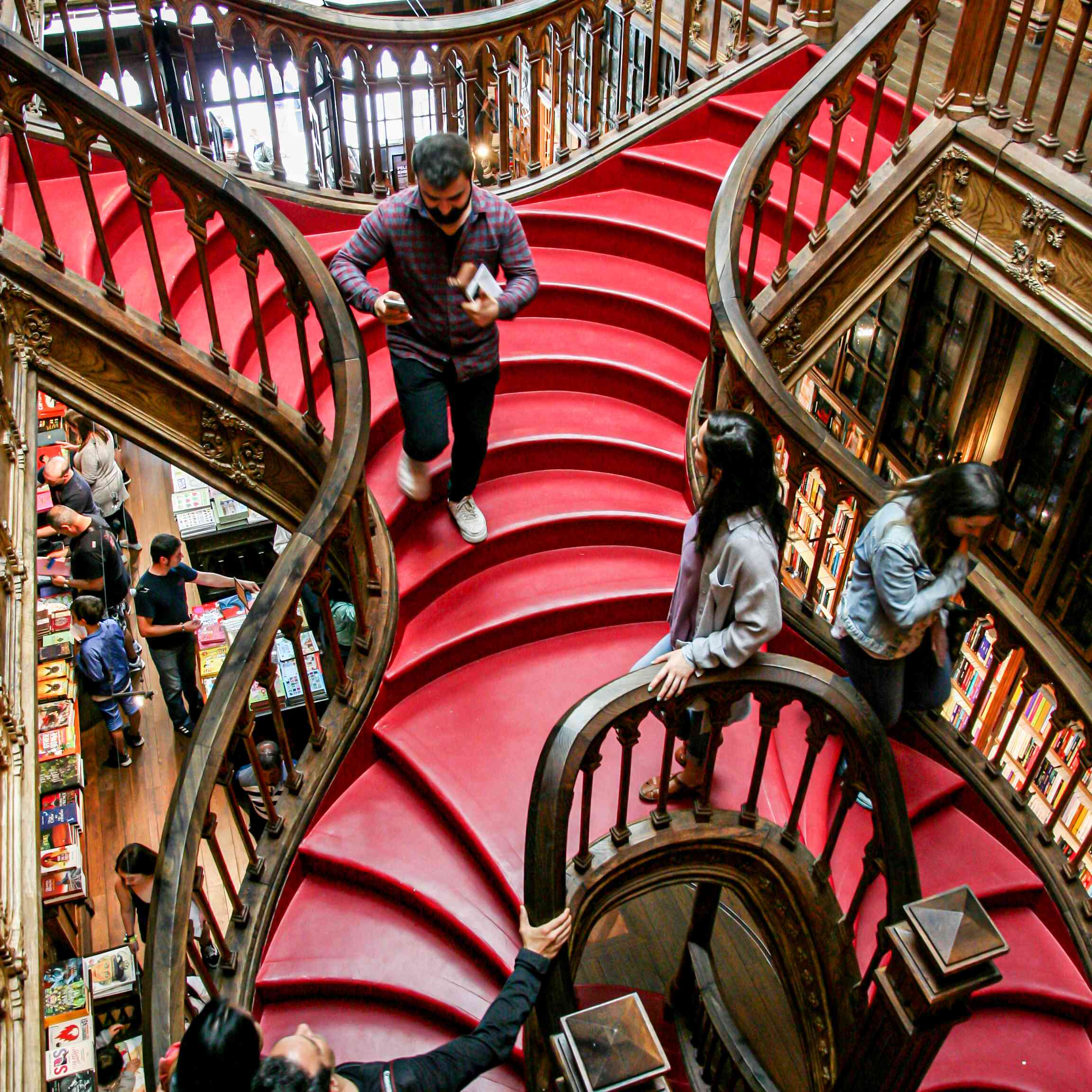 The famous stairwell in the Lello Bookstore