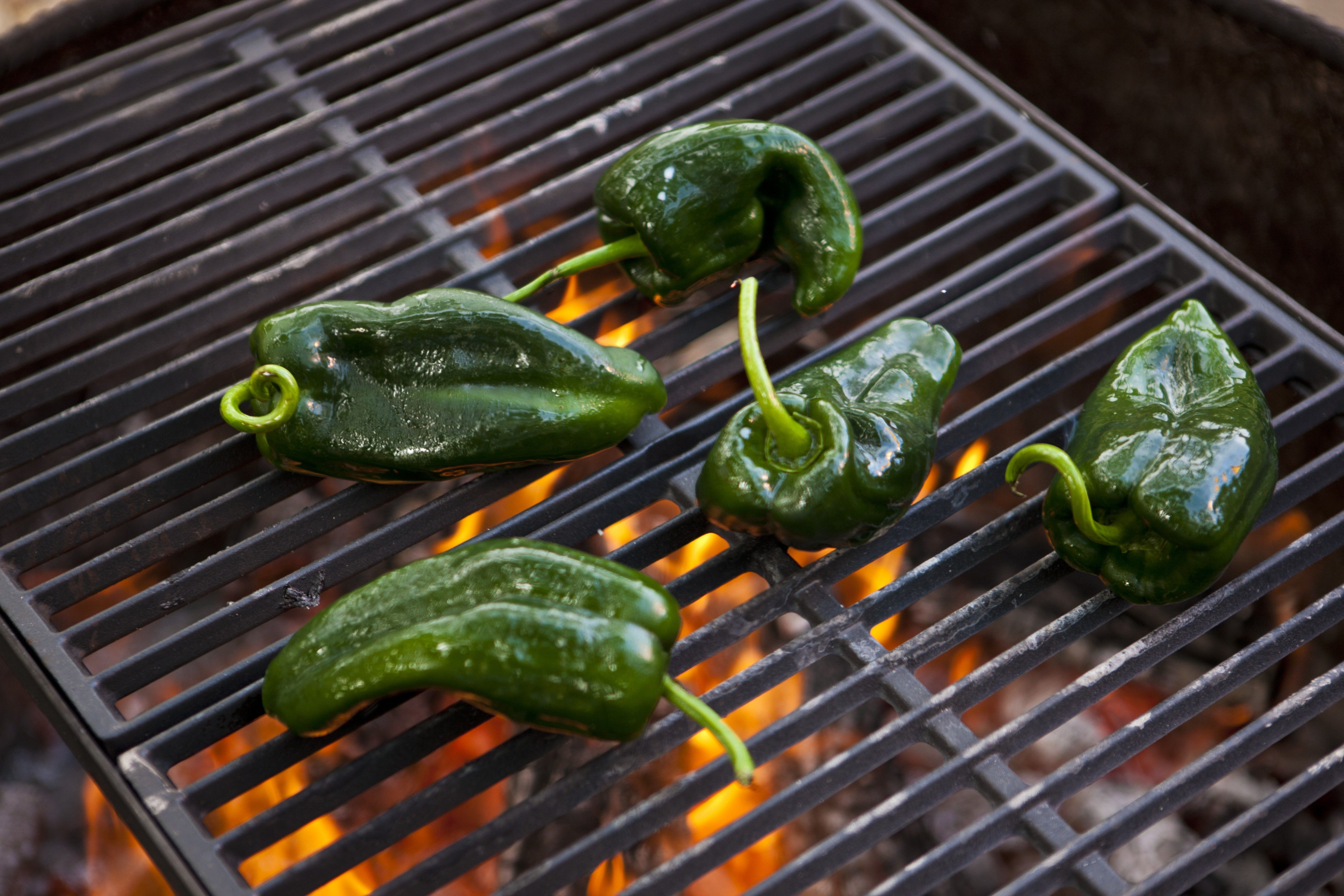 Poblano peppers roasting