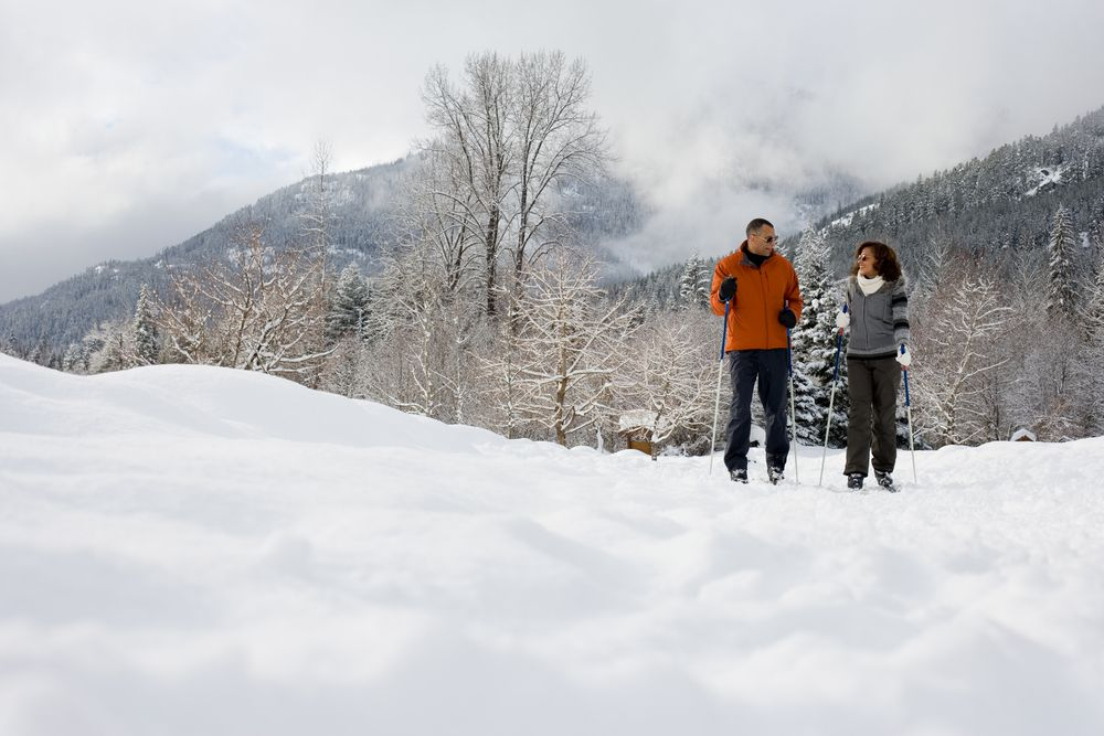 A middle-aged couple skiing together in a mountainous landscape.