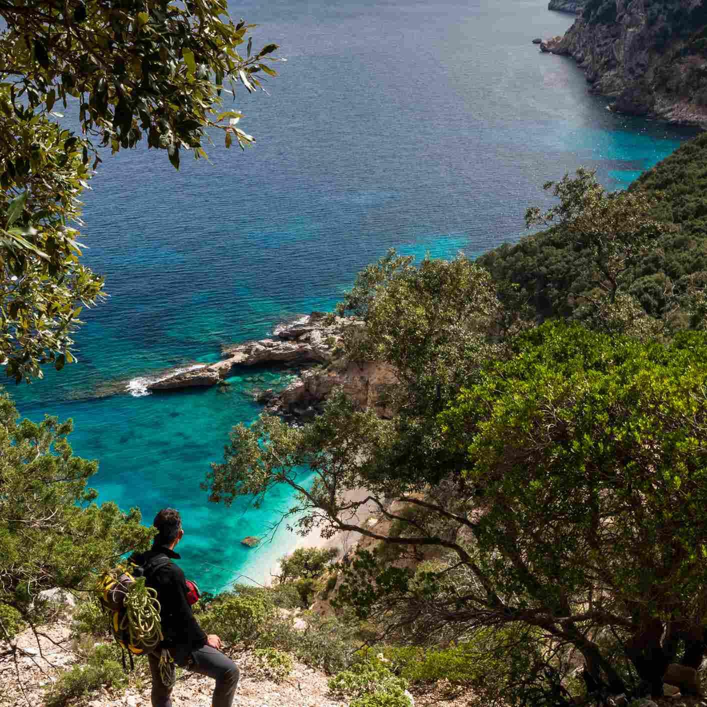 Along the 'Selvaggio Blu' the path approaches often at Mediterranean sea. Here a hiker admires the Cala Biriola beach.