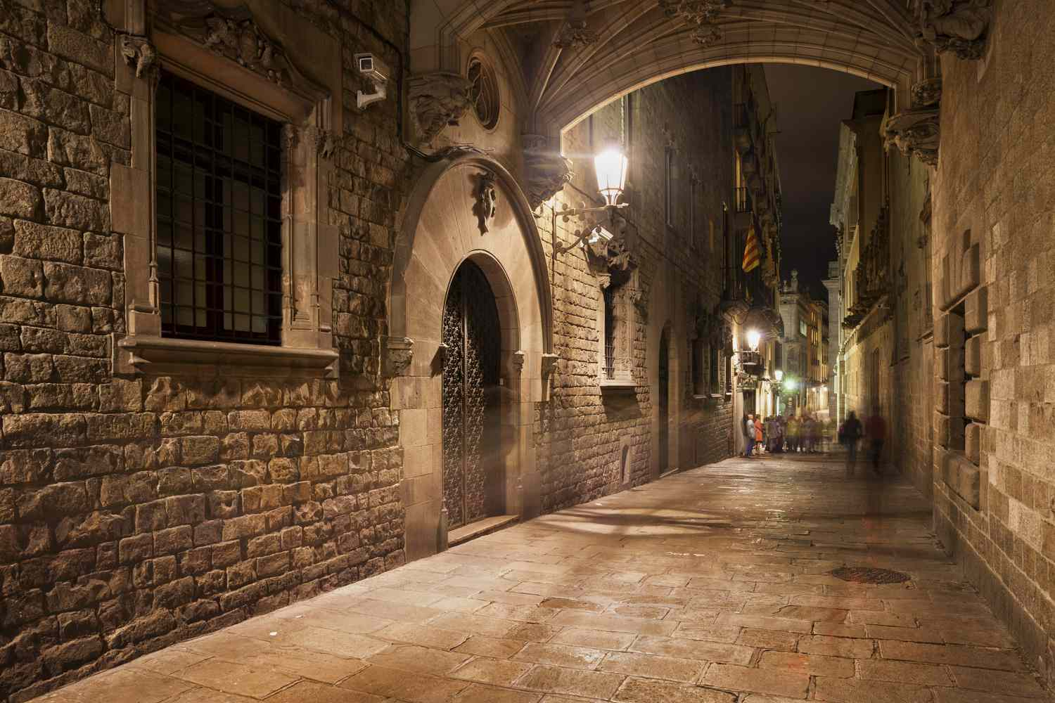 A quiet street in the Gothic Quarter of Barcelona.