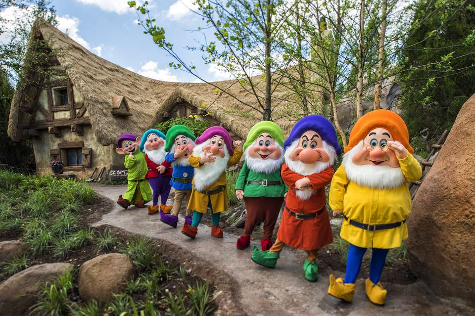 Seven Dwarfs at Mine Train ride in Disney World