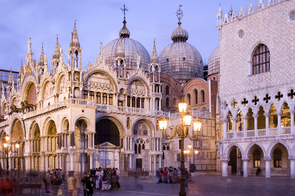 St Mark's Square, Piazza San Marco, with Basilica San Marco and Doges Palace, Palazzo Ducale, Venice, Italy, Europe