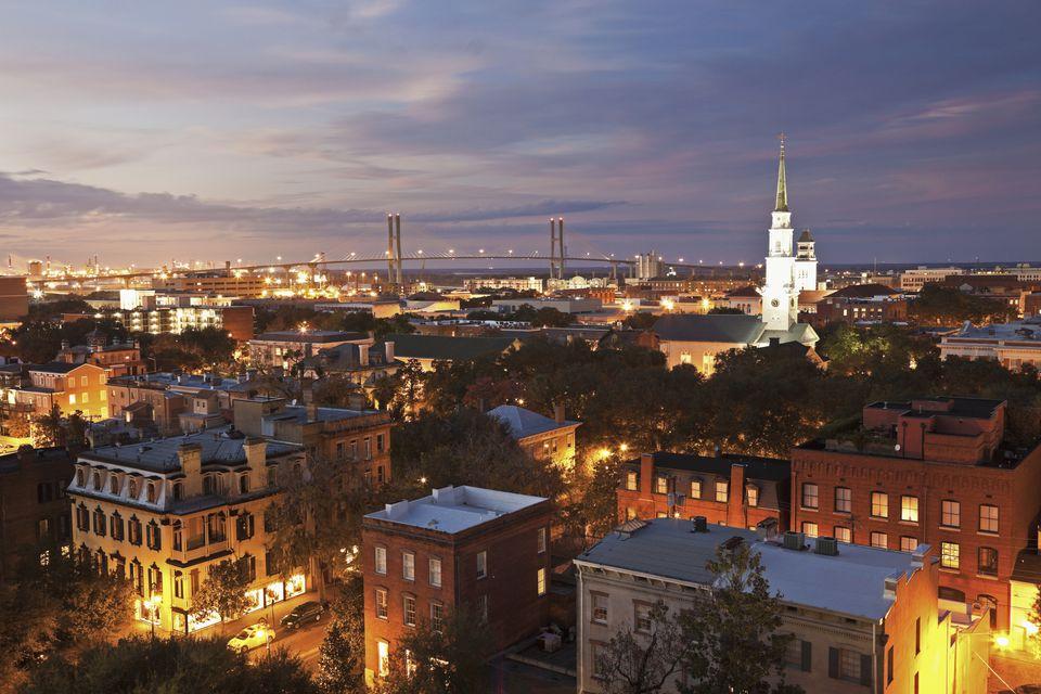 USA, Georgia, Savannah, Cityscape with Talmadge Memorial Bridge