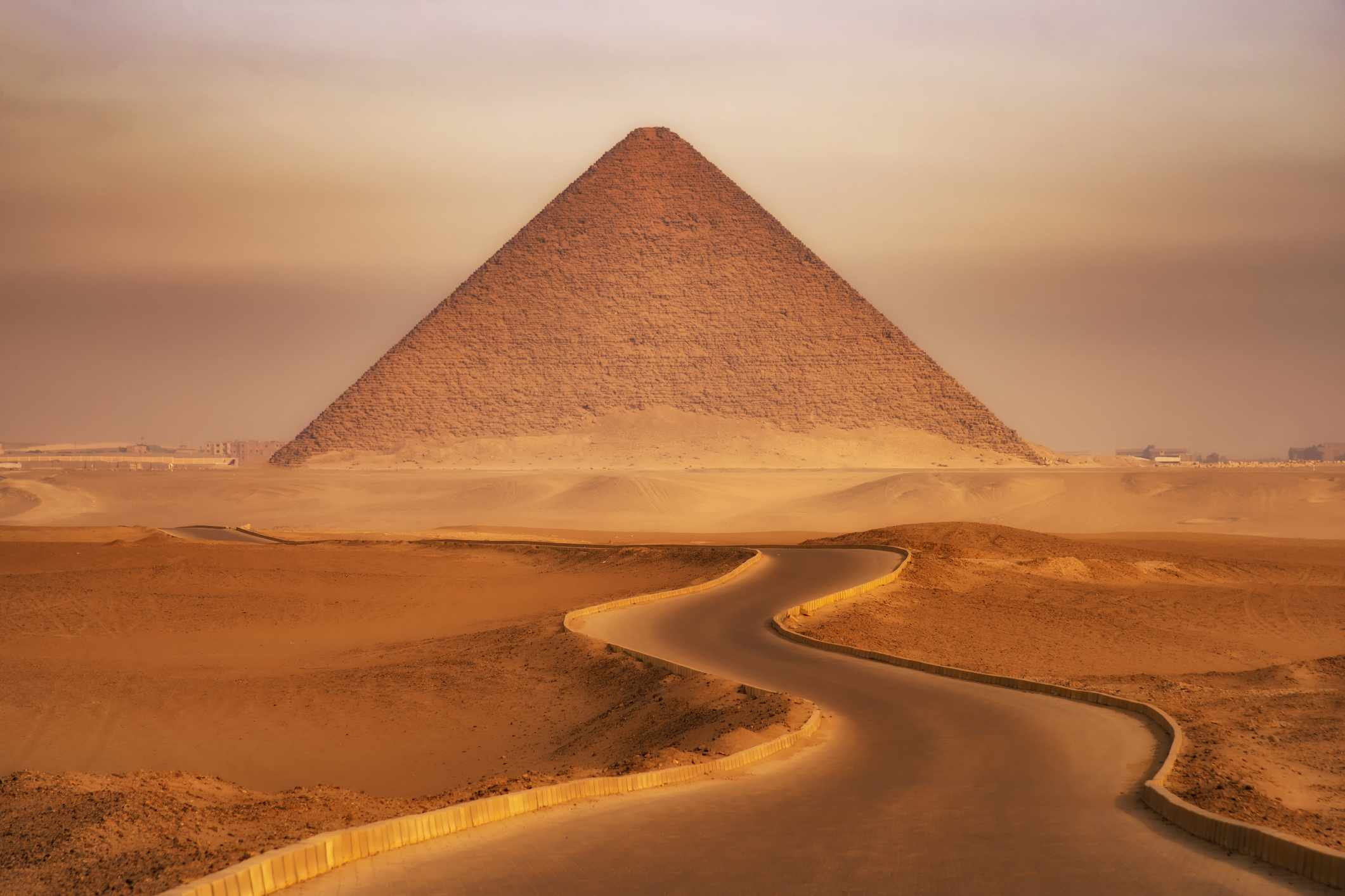 Road leading to the Red Pyramid of Dahshur, Egypt