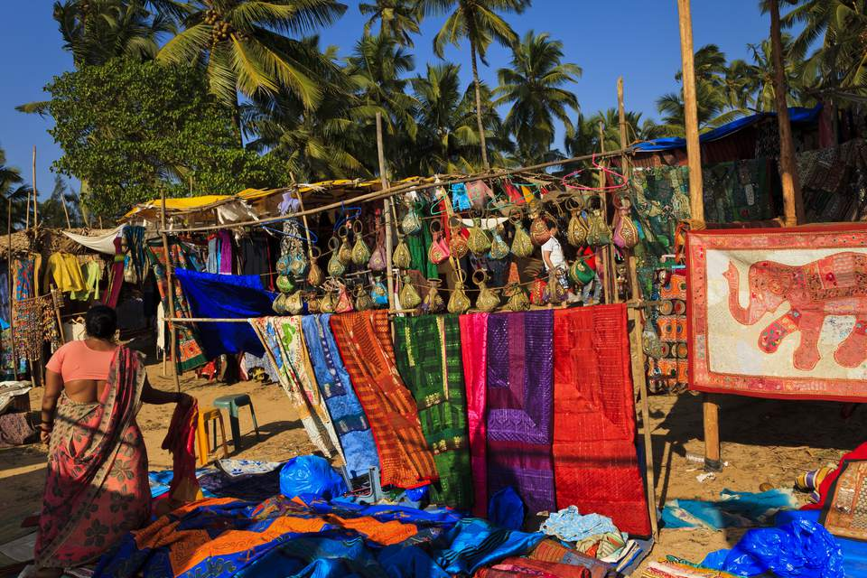 Anjuna beach during Wednesday Flea Market, Goa
