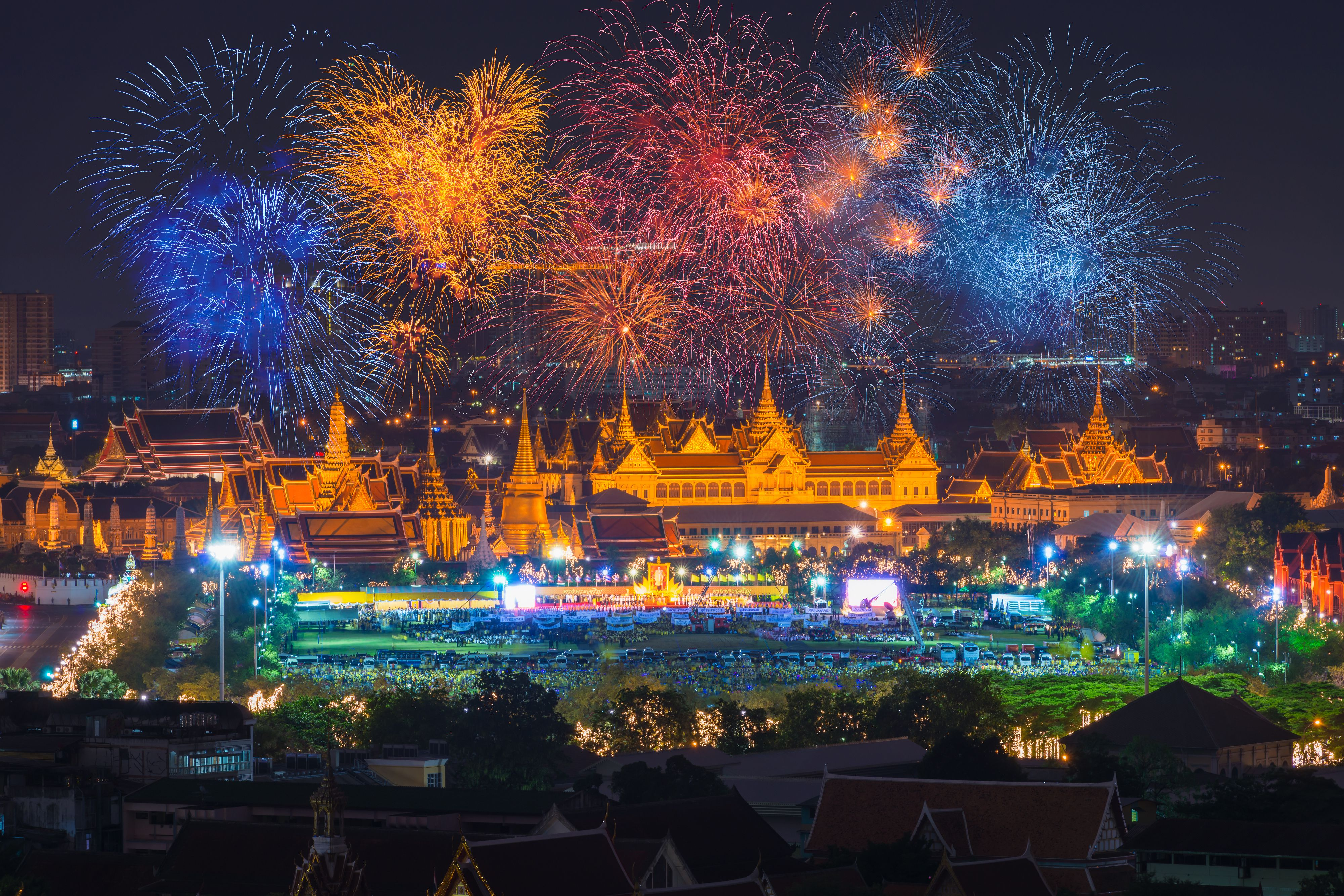 Fireworks in Bangkok for the King's Birthday holiday