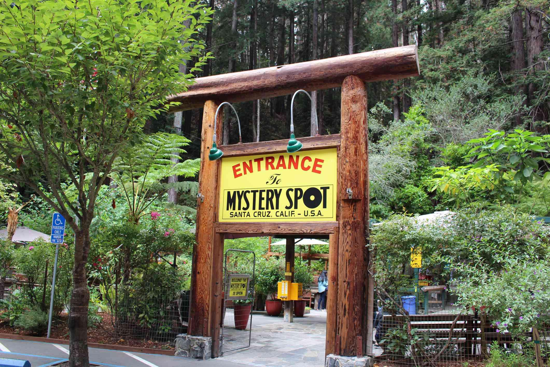 Mystery Spot entrance sign in Santa Cruz, California