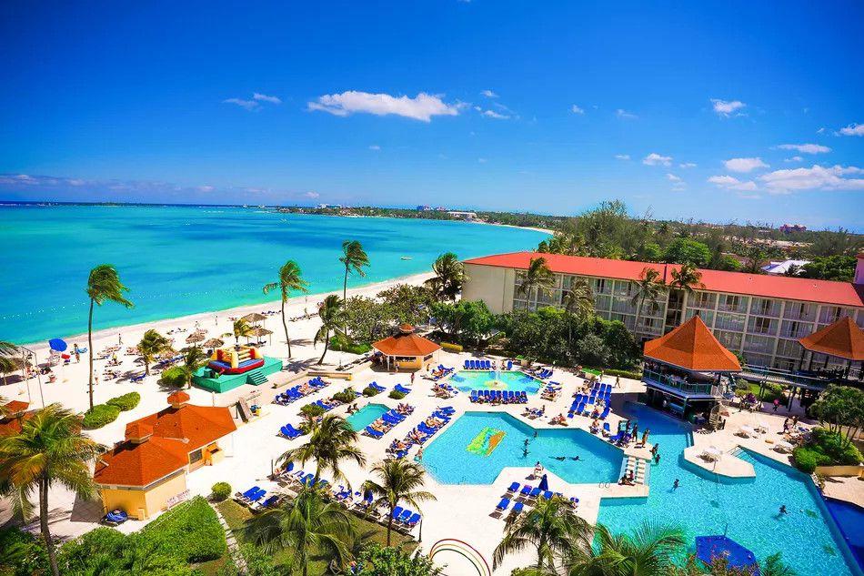 Overhead view of Breezes Bahamas pool area