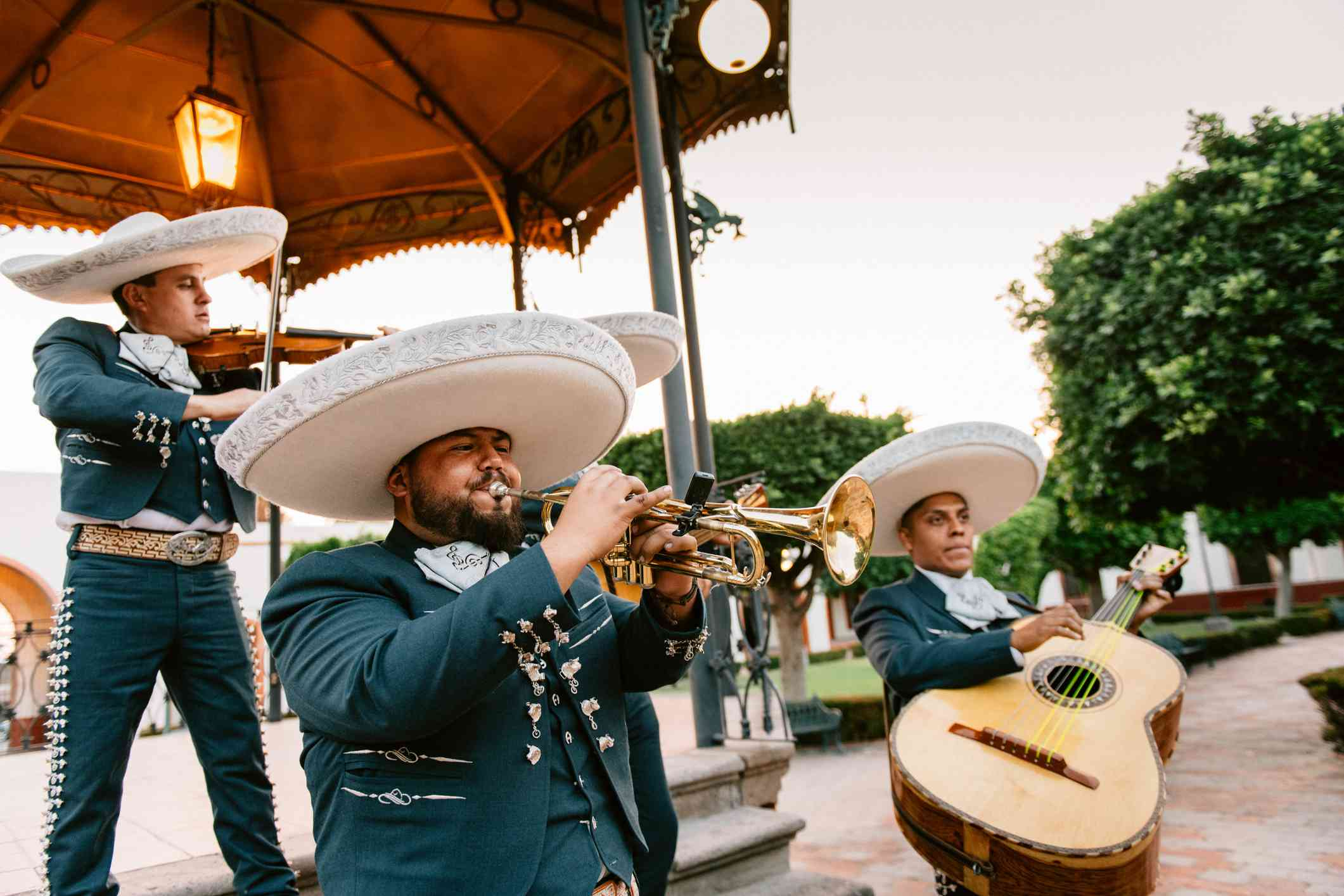 Mariachi Band Playing under Mexican Kiosk