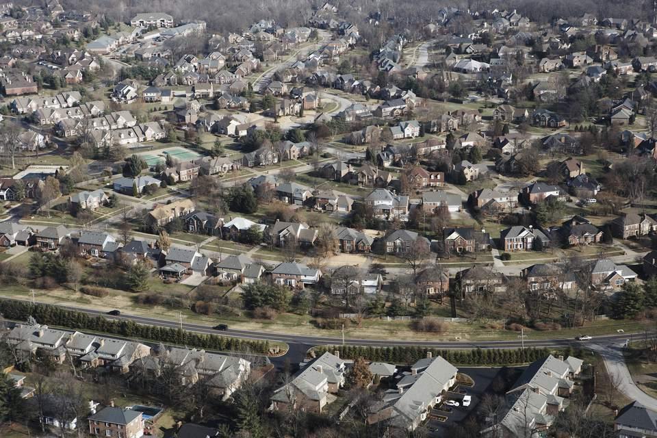 USA, Kentucky, Louisville, aerial view of suburbs