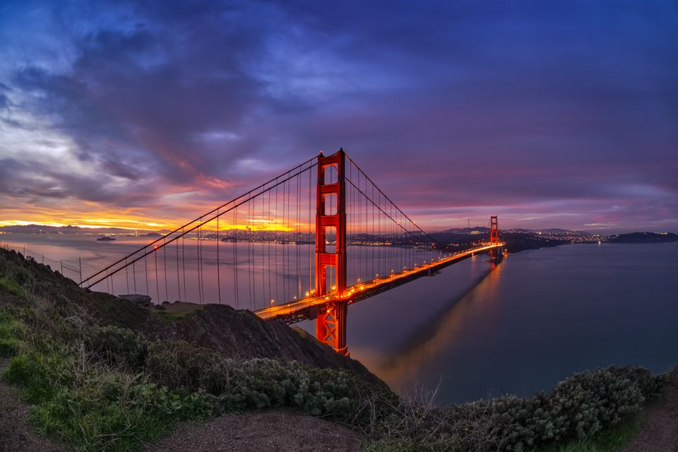 San Francisco Bay and Golden Gate Bridge at sunrise.