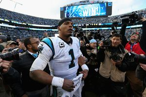 Cam Newton after a Panthers win at Bank of America Stadium