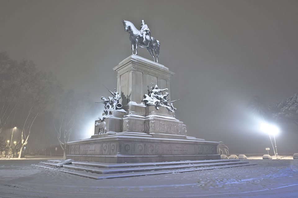Italy, Rome, Janiculum, Night view with snow of Monument to Giuseppe Garibaldi