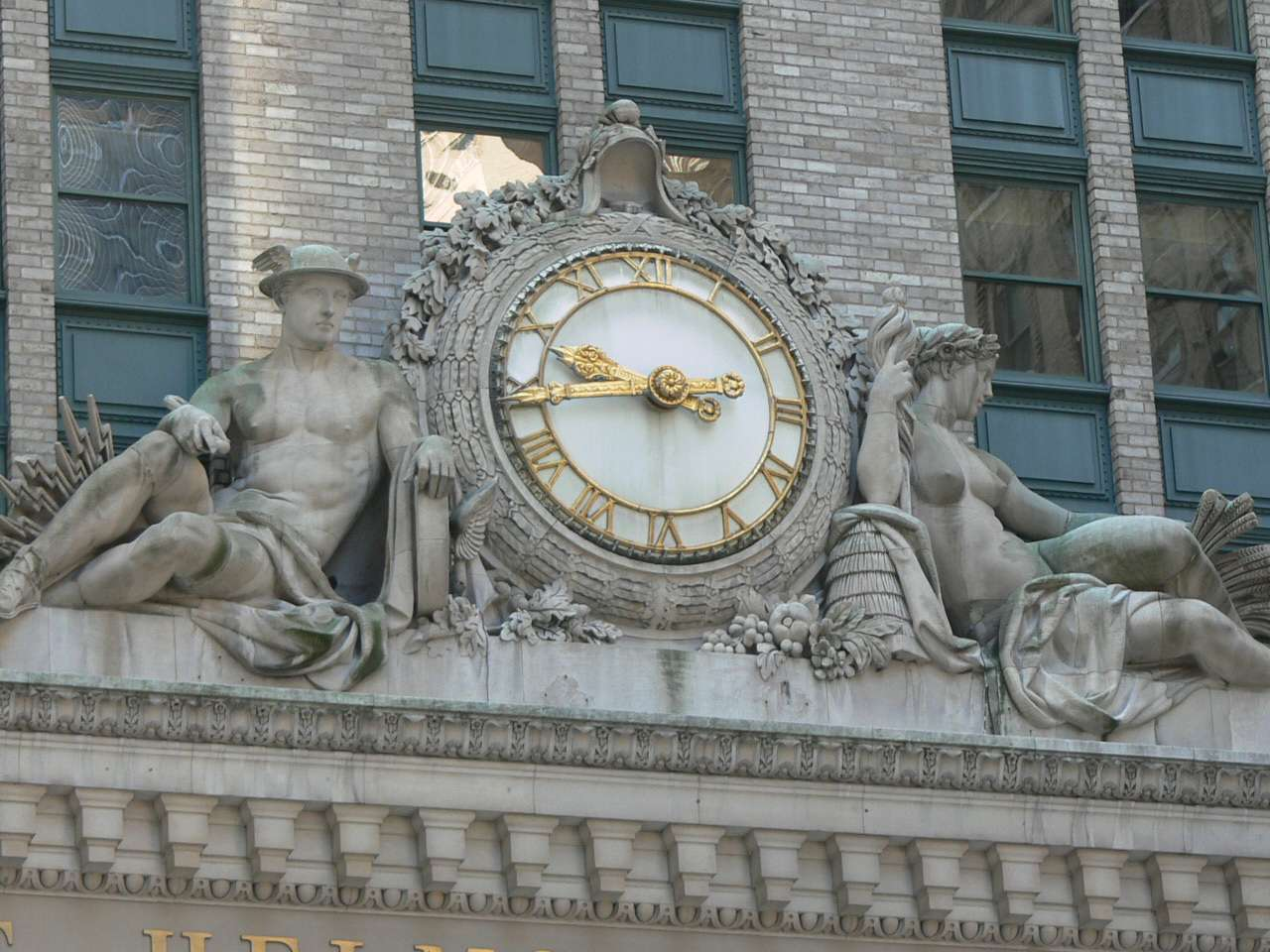 Beaux Arts clock on the Helmsley Building by Grand Central Terminal in New York City