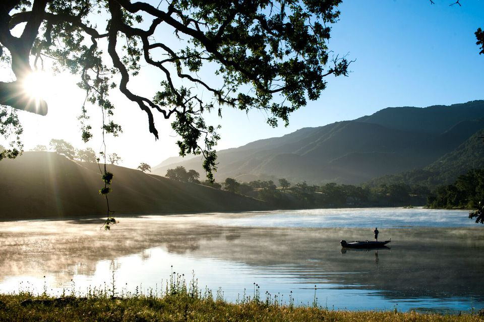 A fisherman on the Alisal Guest Ranch & Resort's private lake.