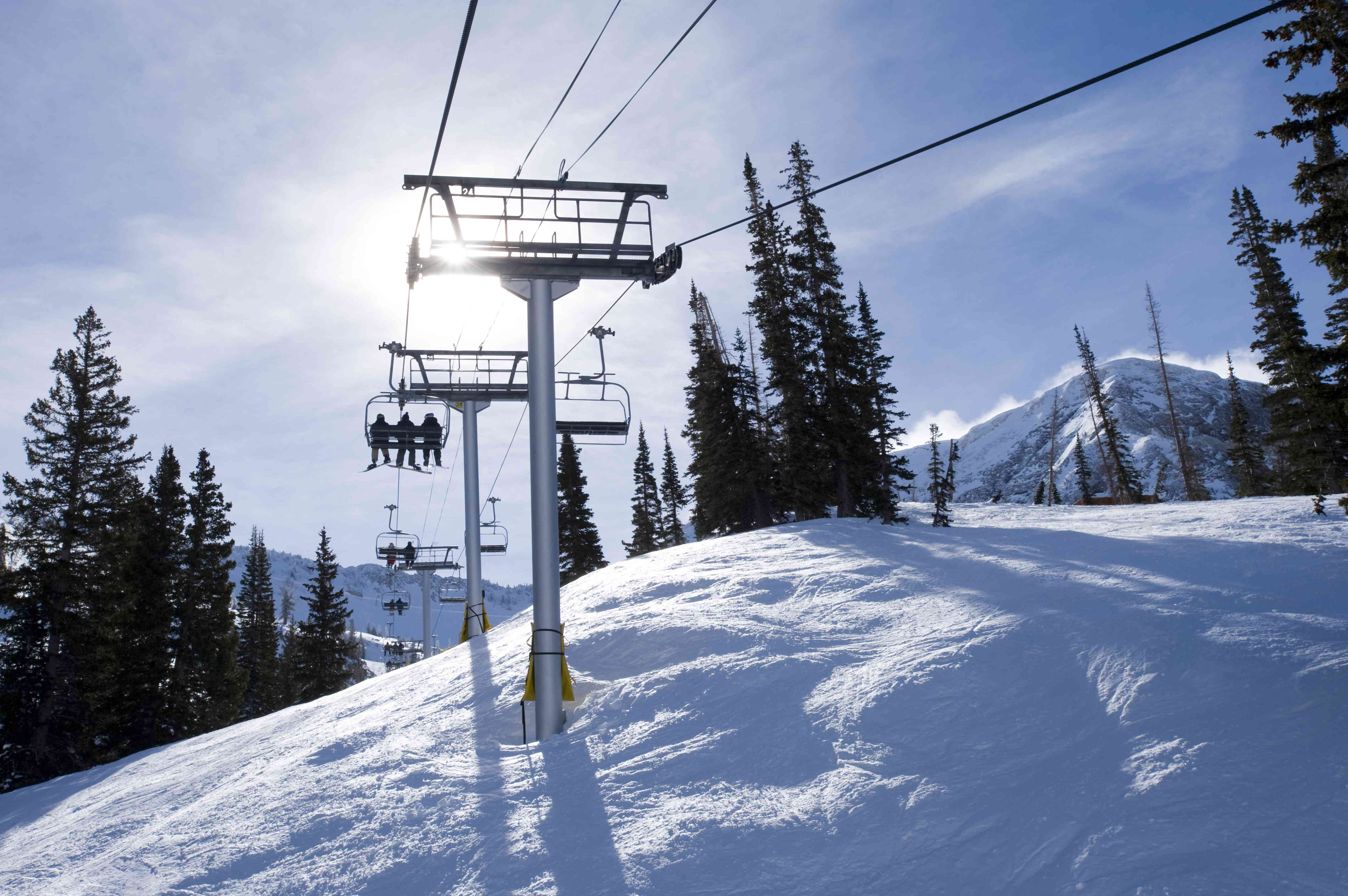 Quad chairlift in the winter in Utah.