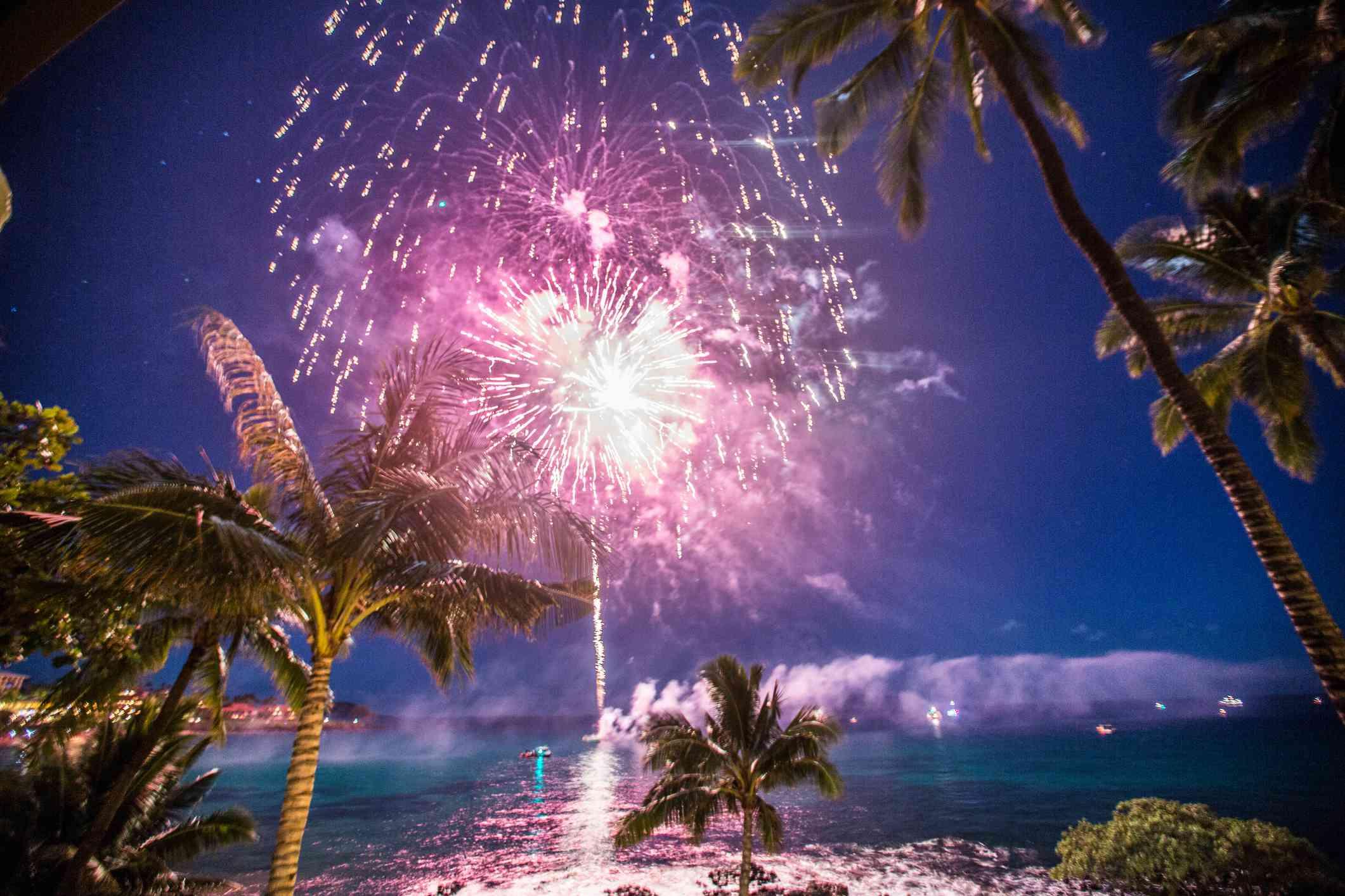 Palm Tree Fireworks at Ocean Resort