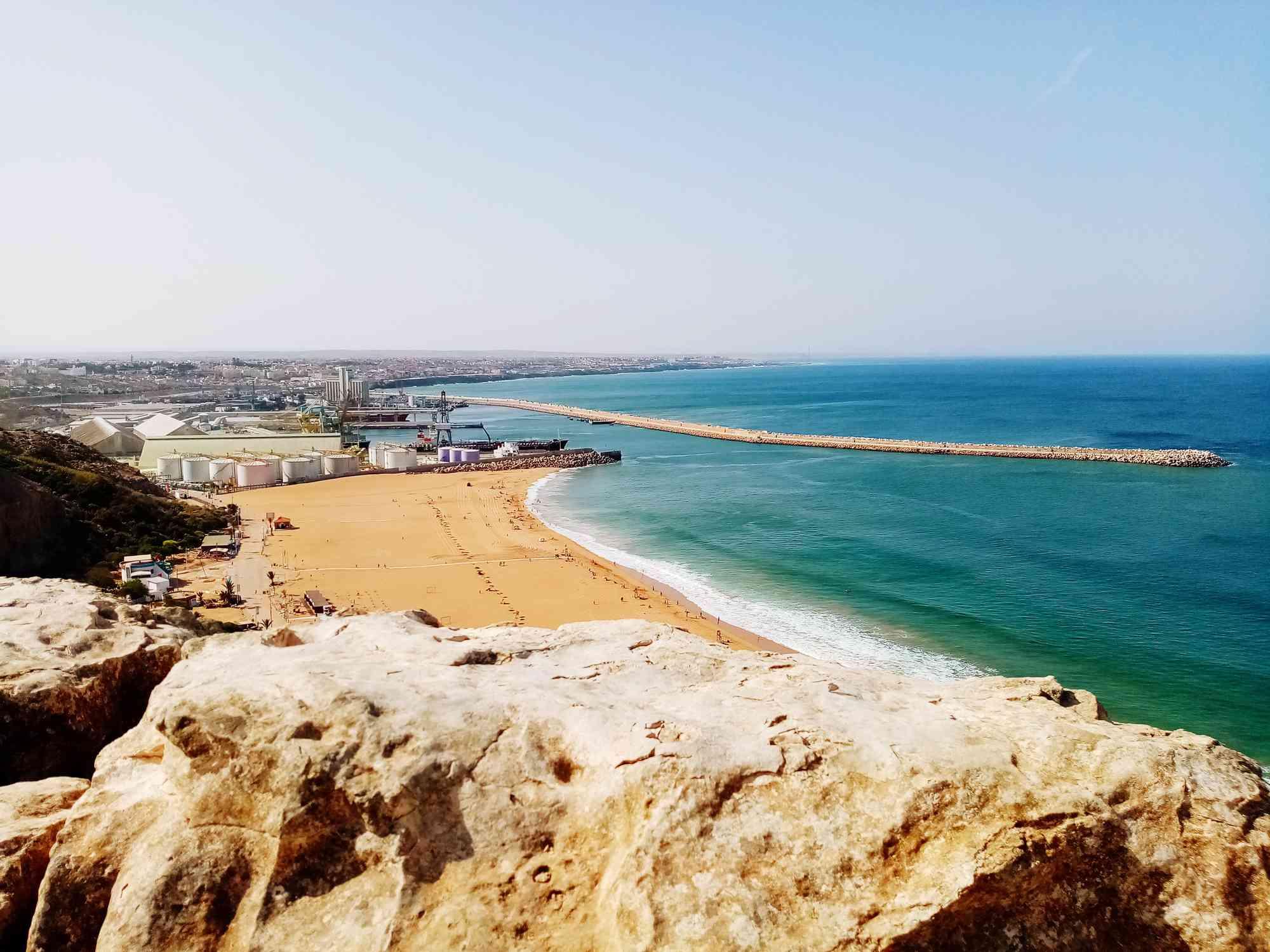 High angle view of Safi town and beach, Morocco