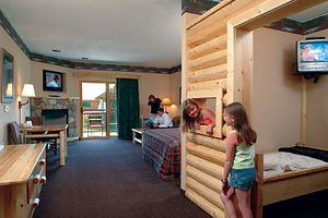 A room with a kid's bunk