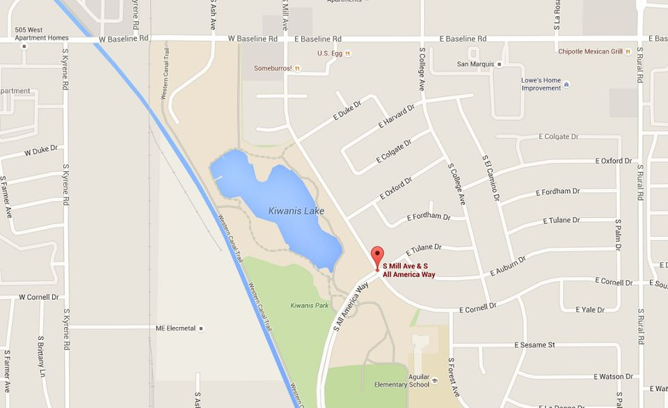 Map to Kiwanis Park in Tempe