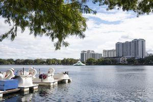 Swan boats docked at Lake Eola Park