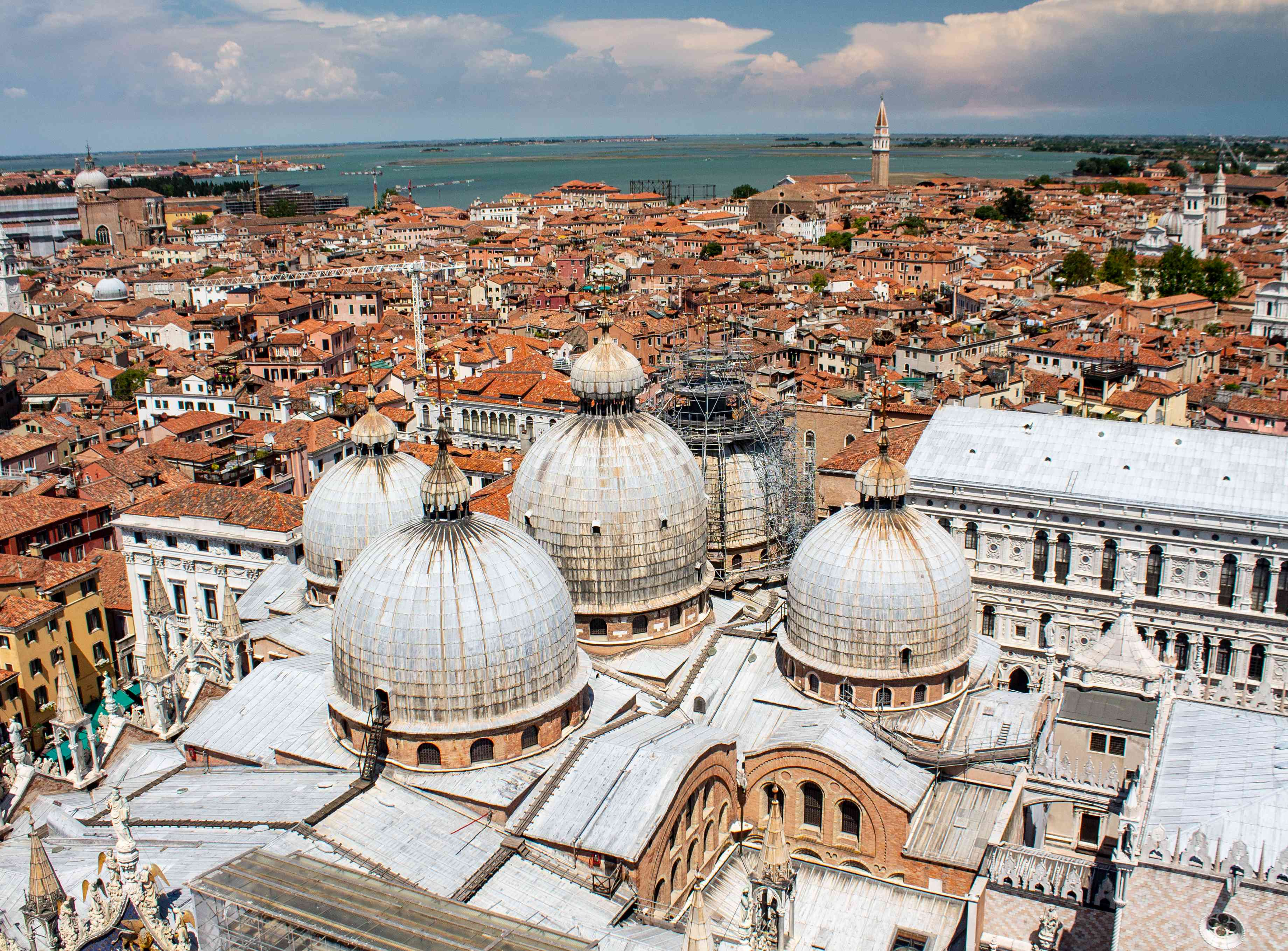 Aerial view of the top of Basilica San Marco
