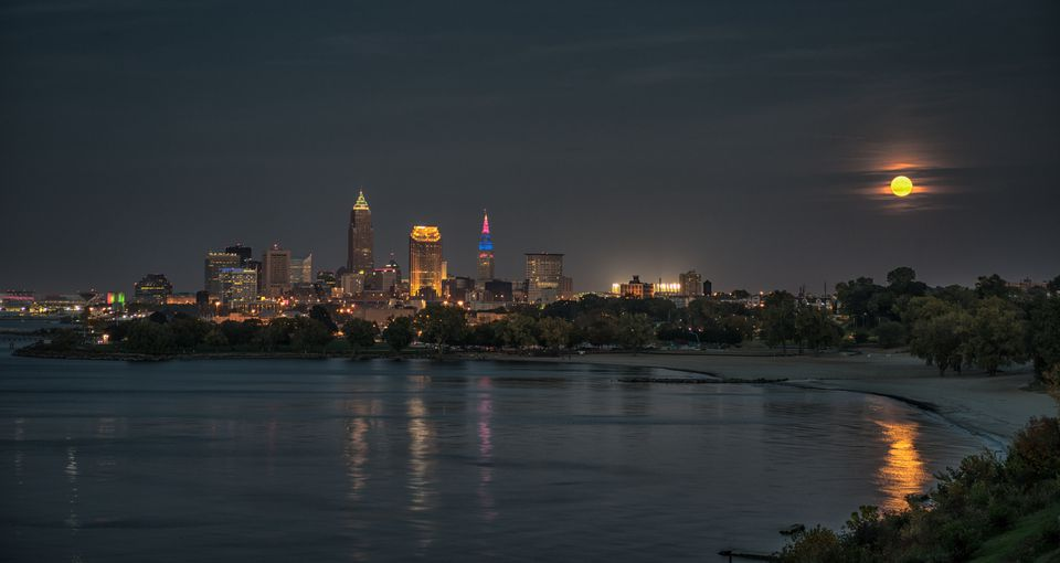 Harvest Moon Reflection Cleveland Skyline