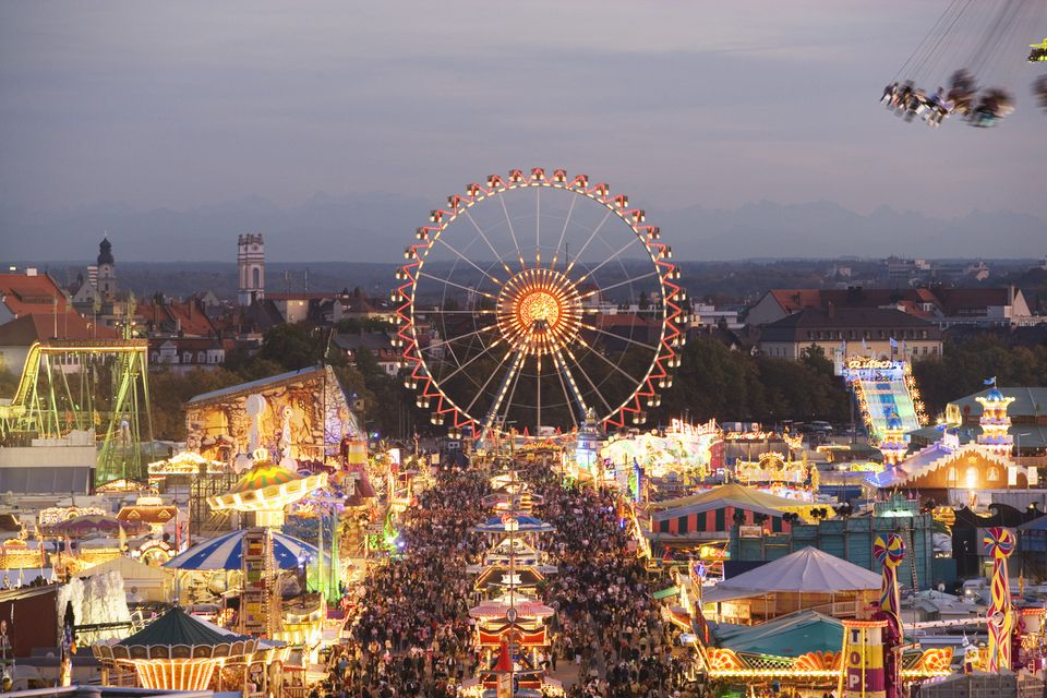 Aerial view of Oktoberfest in Munich, Germany