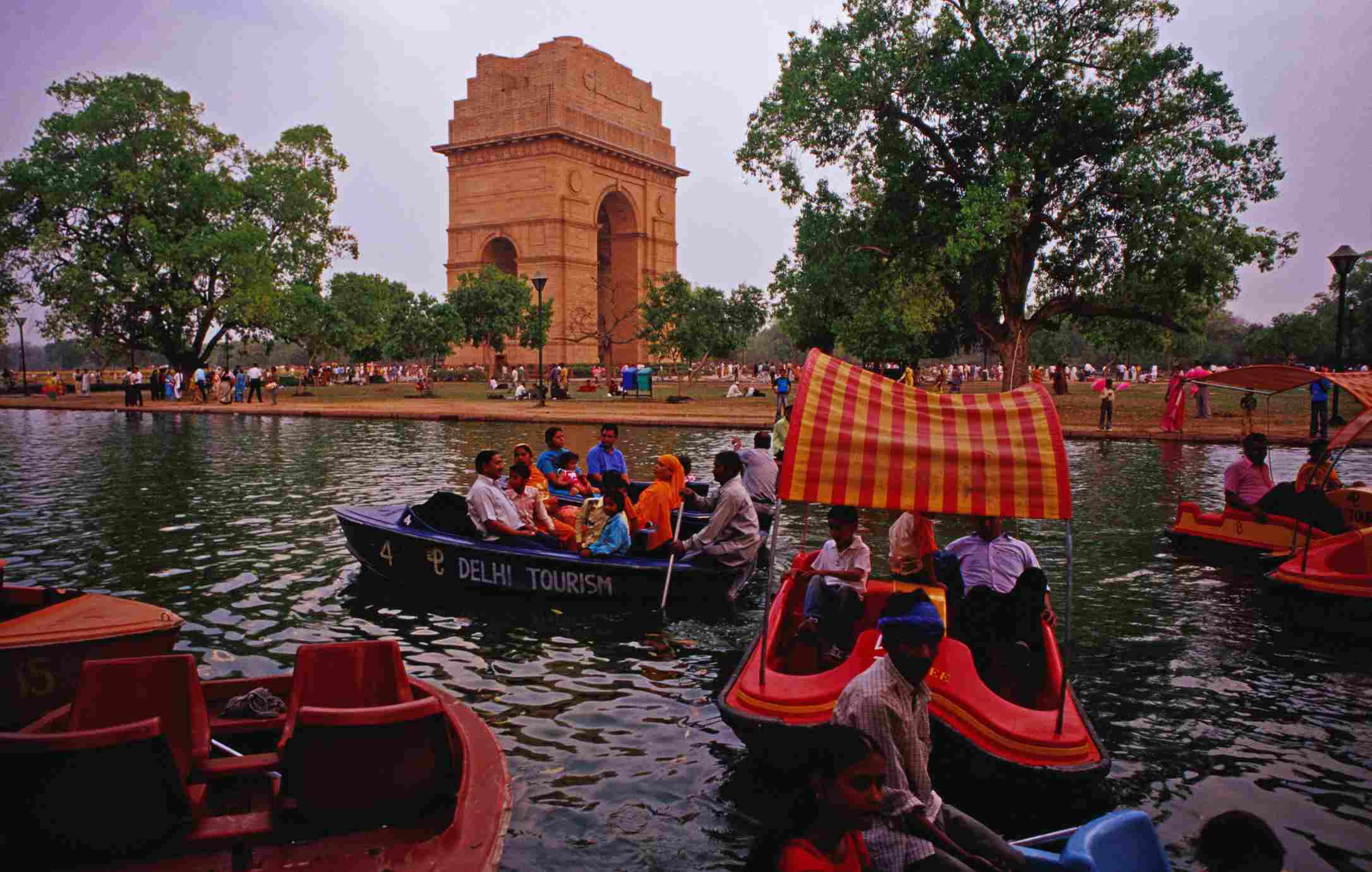 Boating at India Gate, Delhi.