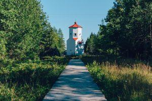 Lighthouse and Boardwalk at Ridges Sanctuary in Baileys Harbor Door County Wisconsin