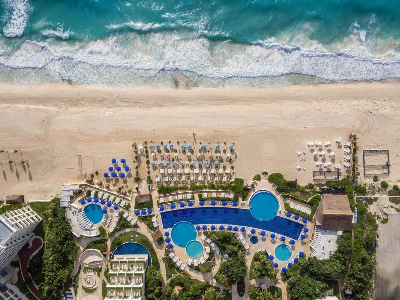 Pools and beach at Live Aqua Beach Resort Cancun
