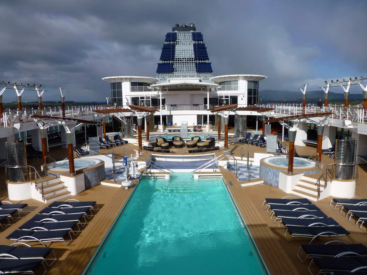Outdoor swimming pool on the Celebrity Infinity