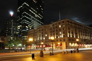 Night view of Copley Square in Back Bay of Boston, Massachusetts, USA