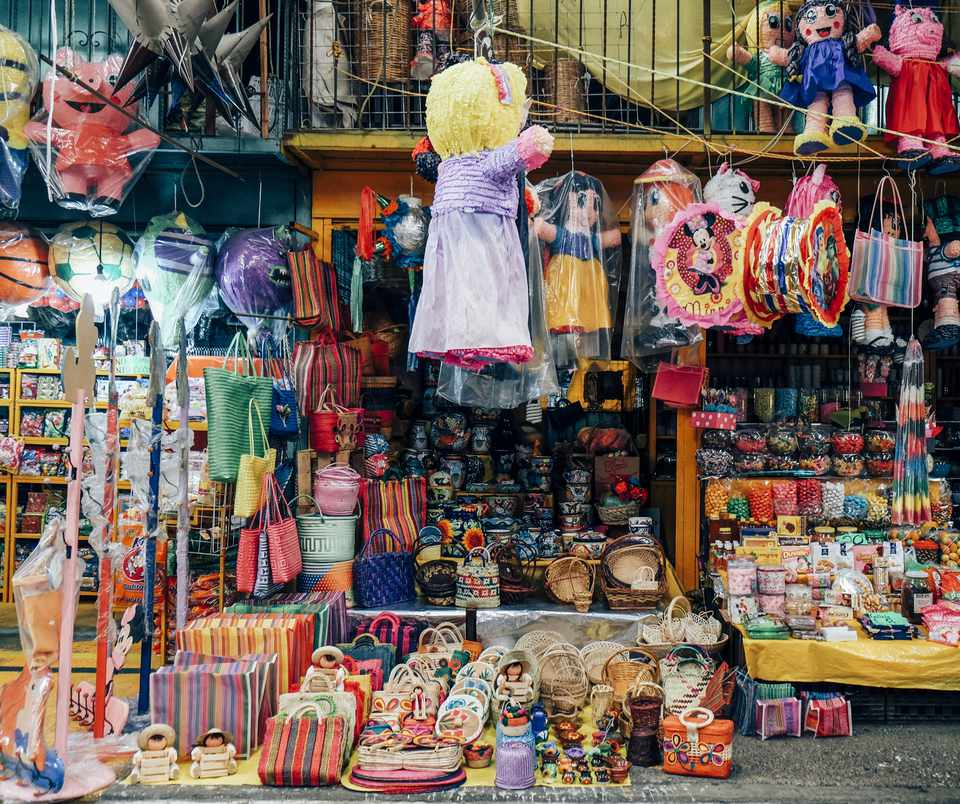 Market stall filled with Colorful items in Mexico