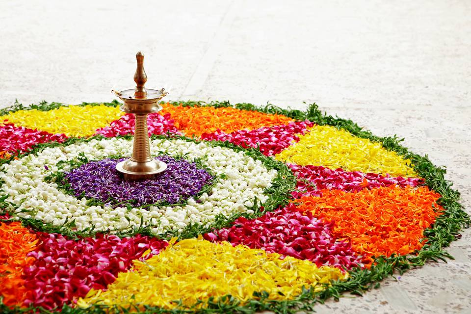 Floral arrangement, or pookalam, during Onam festival in Kerala.