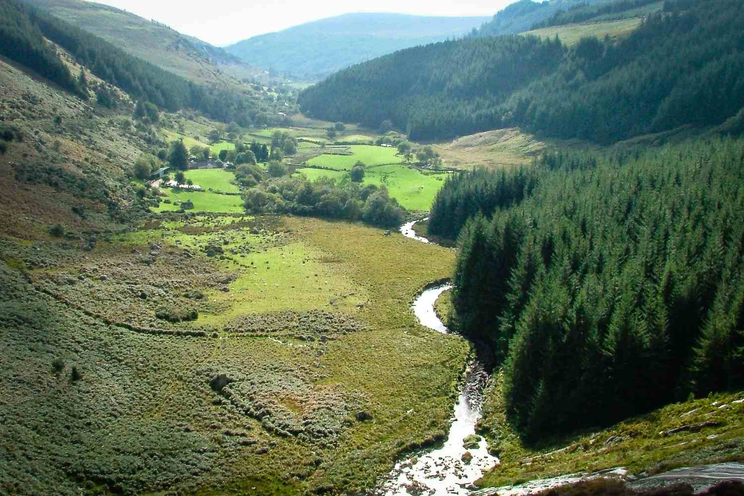 Following the stream down to Glendalough on the Wicklow Way