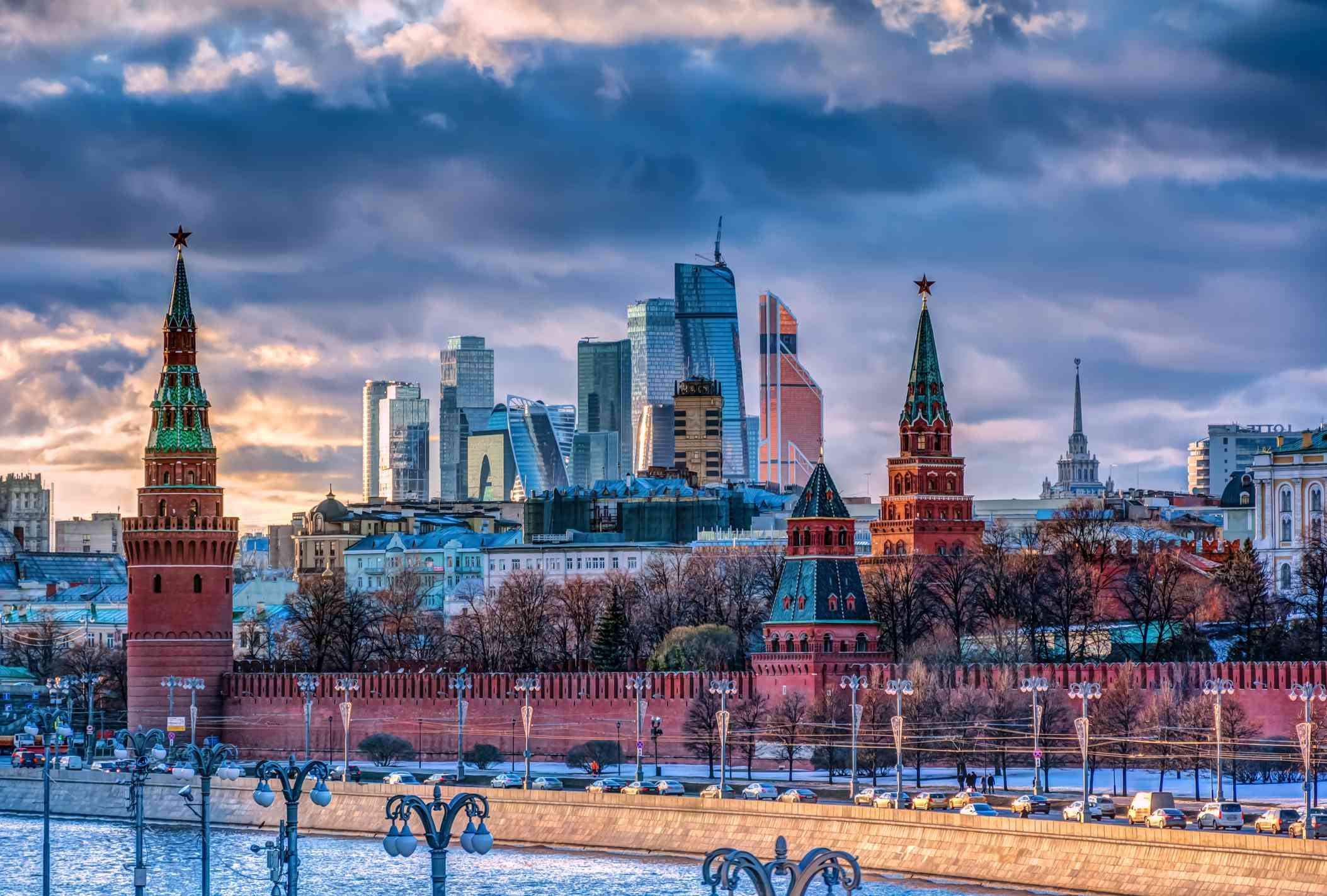View Of Moscow During Winter At Sunset