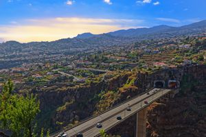 Aerial view at Funchal from Monte with a freeway bridge in foreground