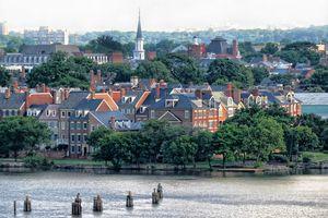 Old Town, Alexandria taken from the Wilson Bridge that crosses the Potomac River.