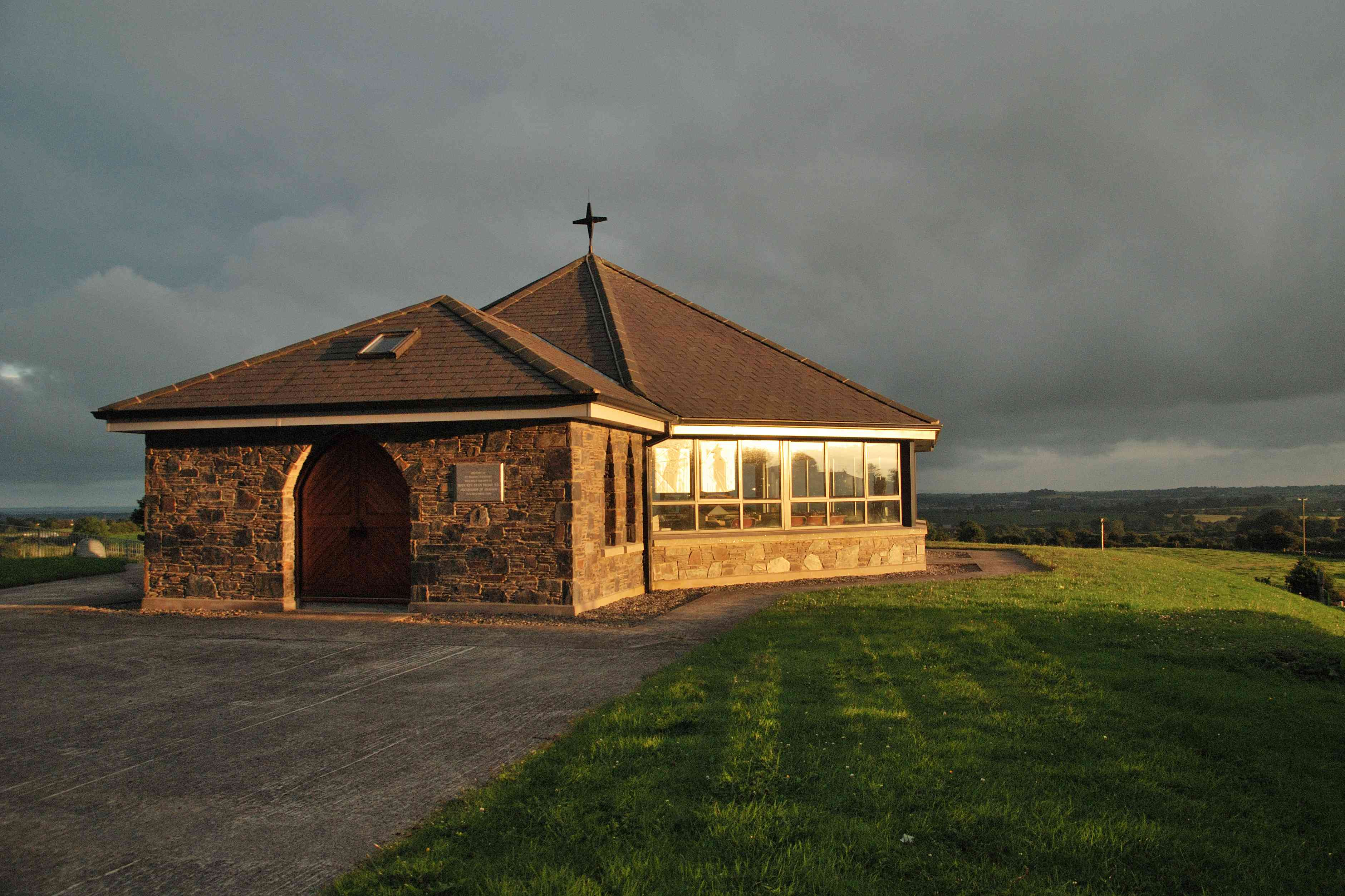 St Brigid's Shrine captured at sunset in Faughart, Ireland on a cloudy