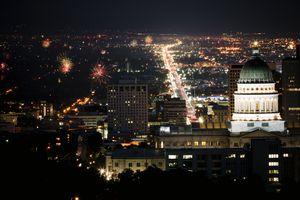 Salt Lake City with fireworks overhead