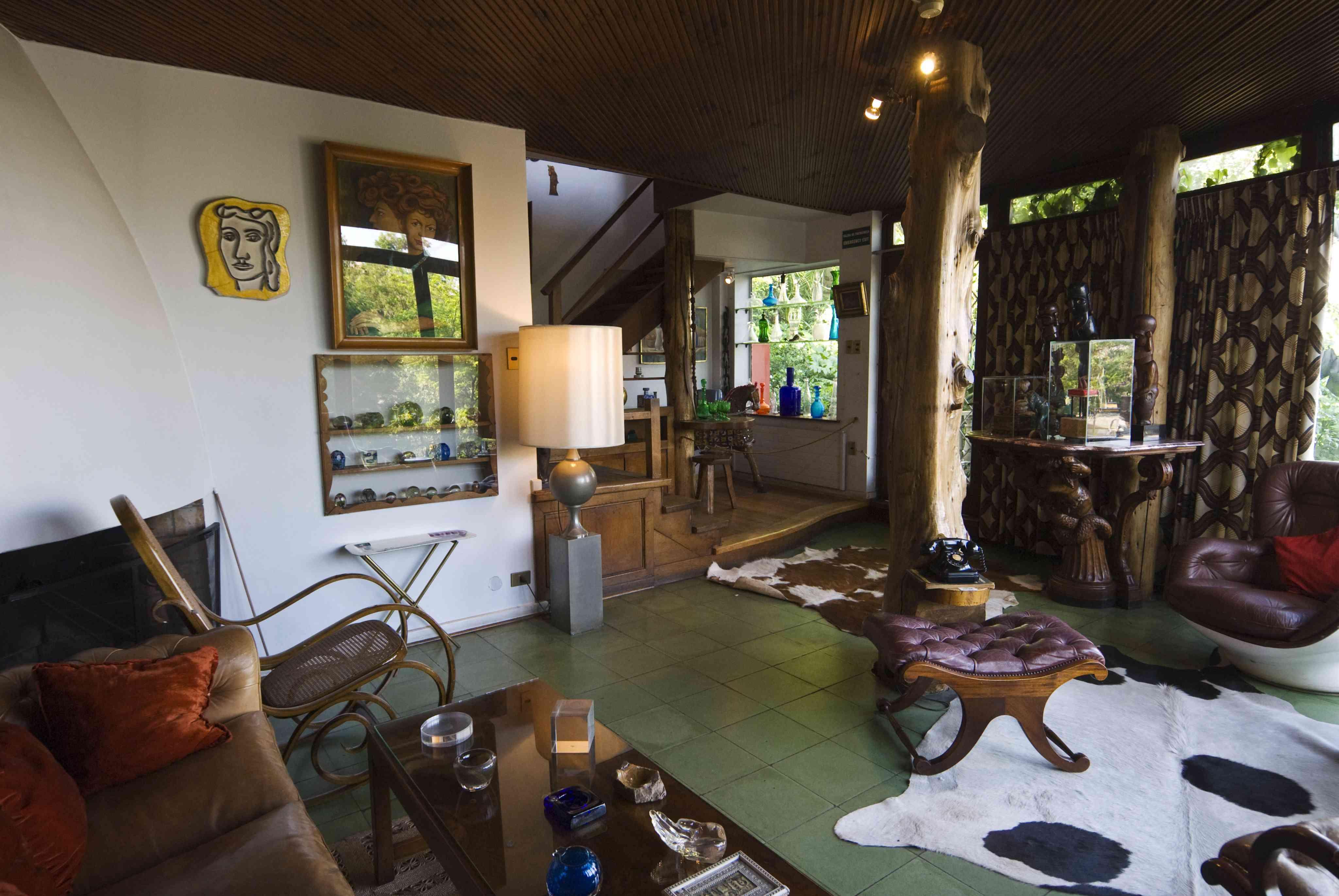 Interior of La Chascona, Pablo Neruda's home in Barrio Bellavista