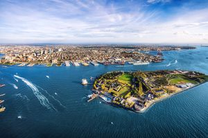 aerial panoramic view of Governors island and Brooklyn. New York. USA