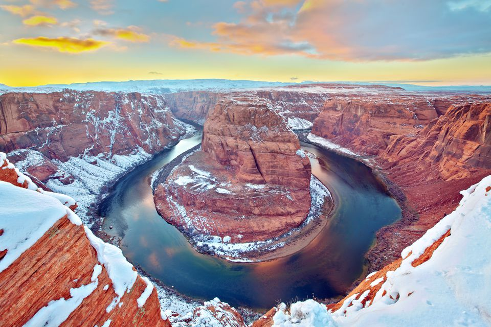 Snow at Horseshoe Bend Grand Canyon National Park