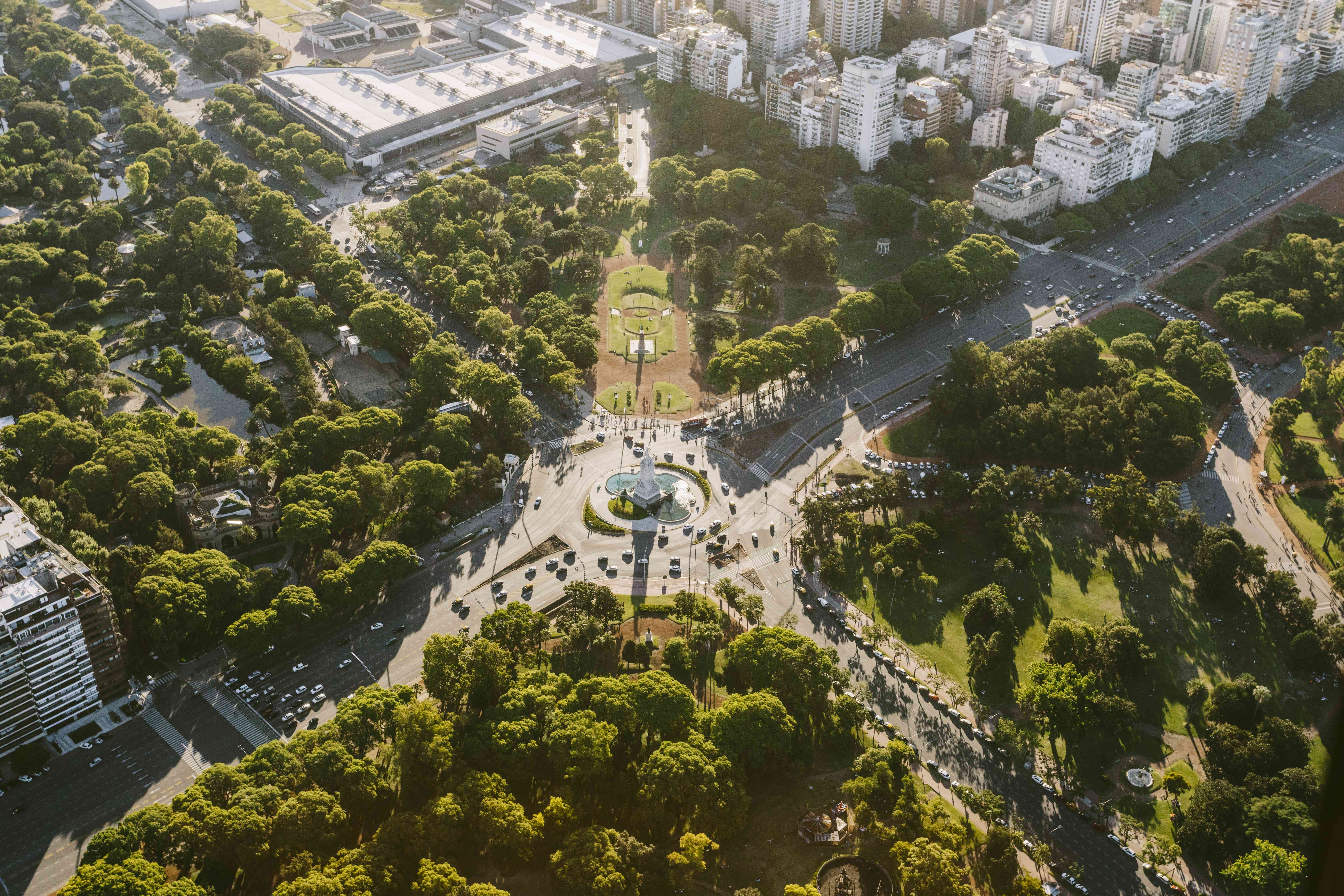 Aerial view of Buenos Aires cityscape and public park