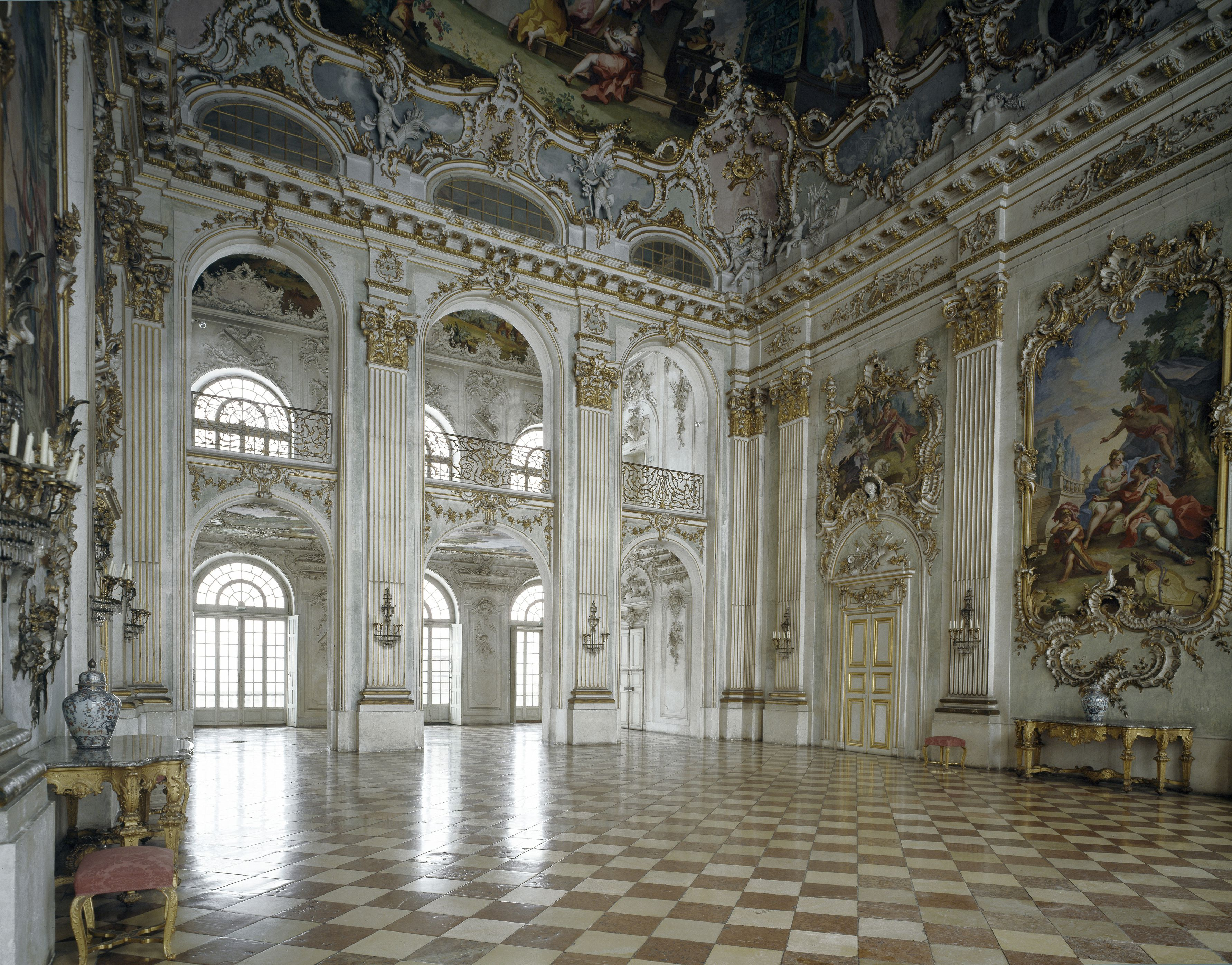 Nymphenburg Palace, 17th century. The Great Hall. Baroque style. Munich, Germany