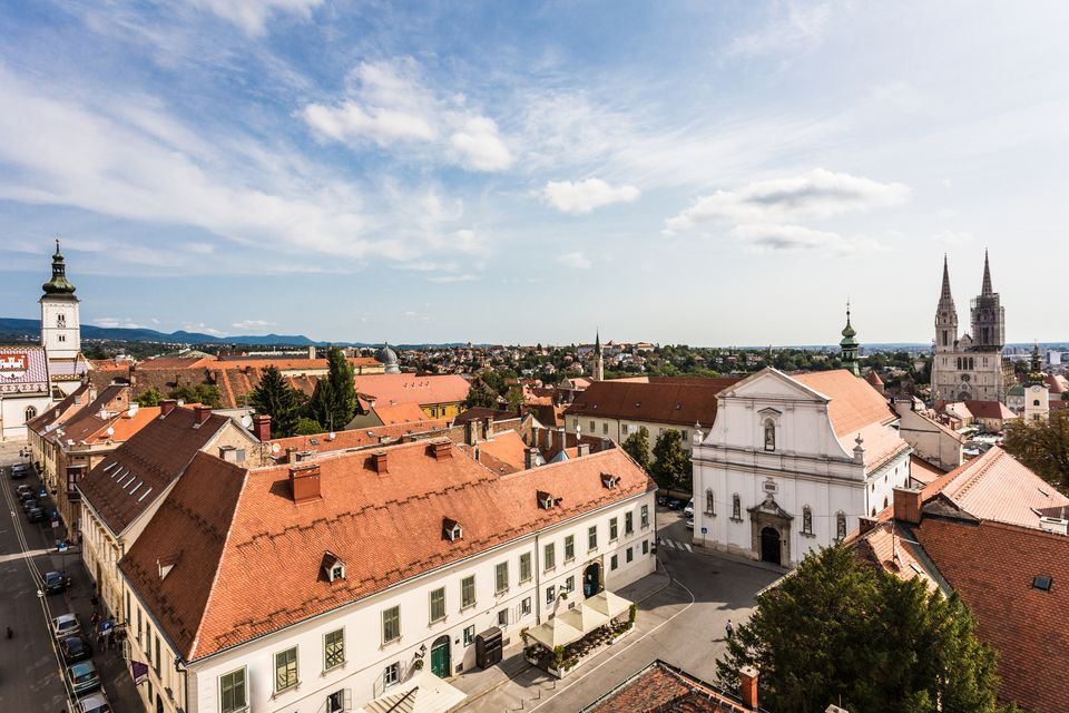 Aerial view of Zagreb skyline with Saint Mark church and the Cathedral in Croatia capital city.