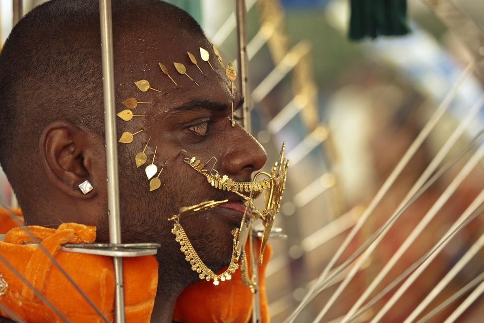 Worshipper pierced for Thaipusam